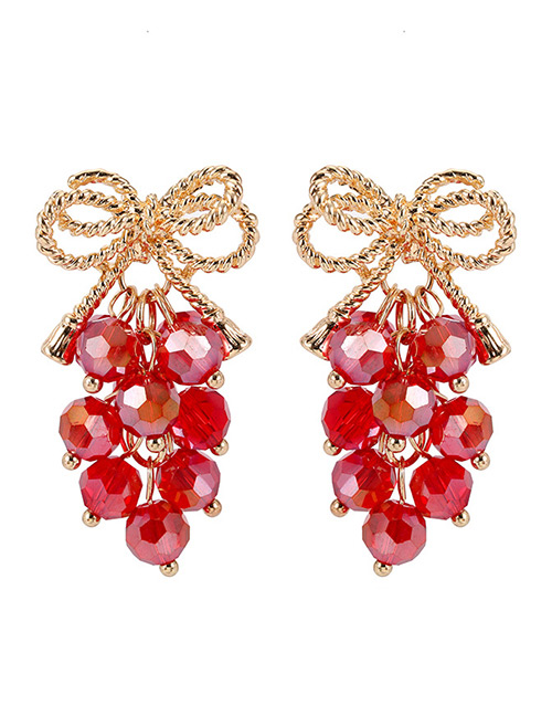 Elegant Red Grape Shape Decorated Long Earrings