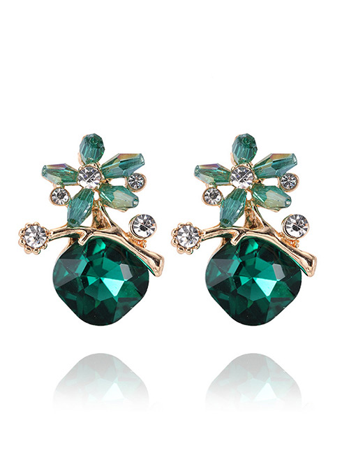 Elegant Green Flowers Shape Design Simple Earrings