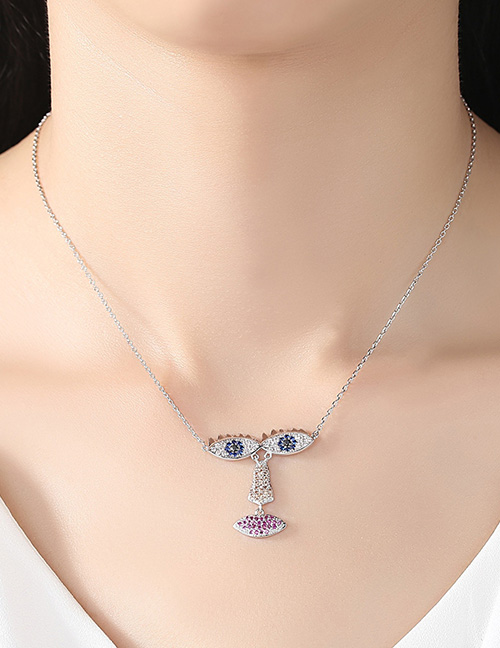 Fashion Silver Color Eyes Shape Pendant Decorated Necklace