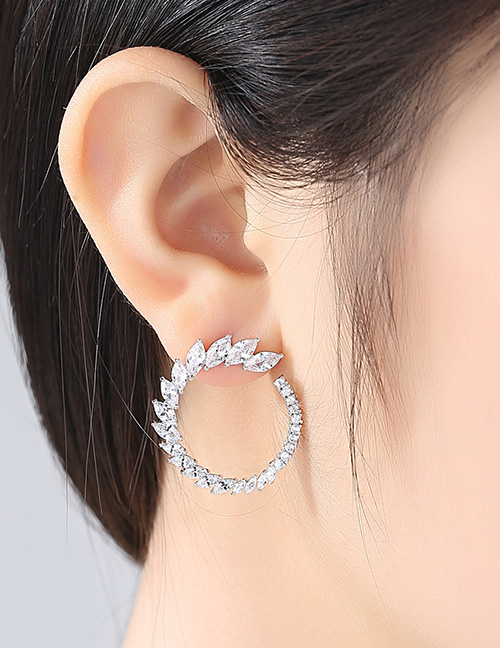 Fashion Silver Color Leaf Shape Design Pure Color Earrings