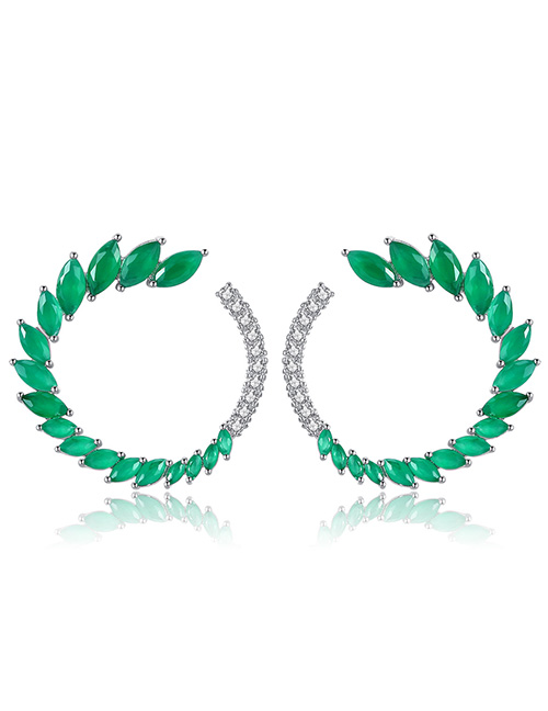Fashion Green Leaf Shape Design Pure Color Earrings