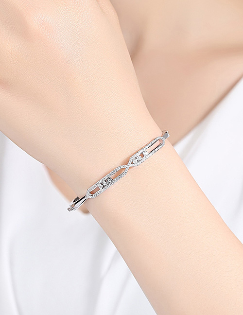 Fashion Silver Color Diamond Decorated Hollow Out Bracelet