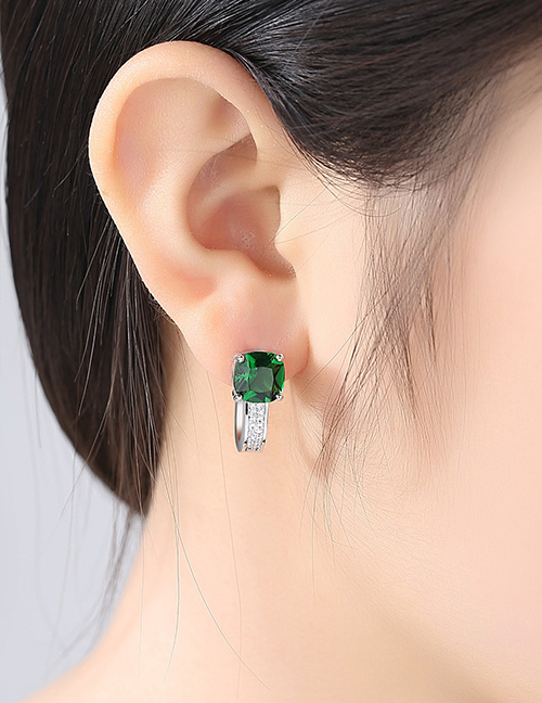 Fashion Green Diamond Decorated U Shape Earrings