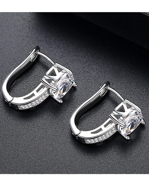 Fashion Silver Color Diamond Decorated U Shape Earrings