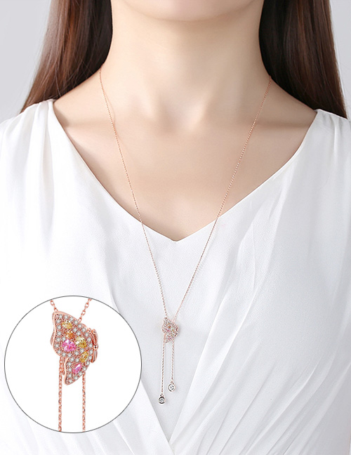 Fashion Rose Gold Butterfly Pendant Decorated Adjustable Necklace