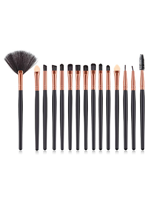 Fashion Black+gold Color Color Matching Design Eye Shadow Brush(15pcs)