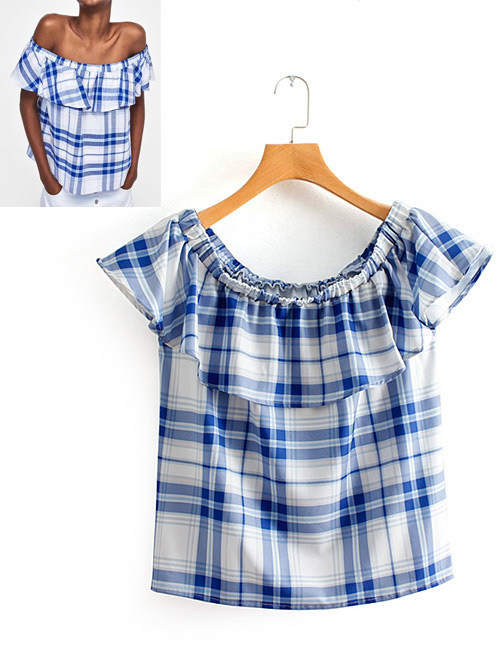 Fashion Blue Grid Pattern Decorated Blouse