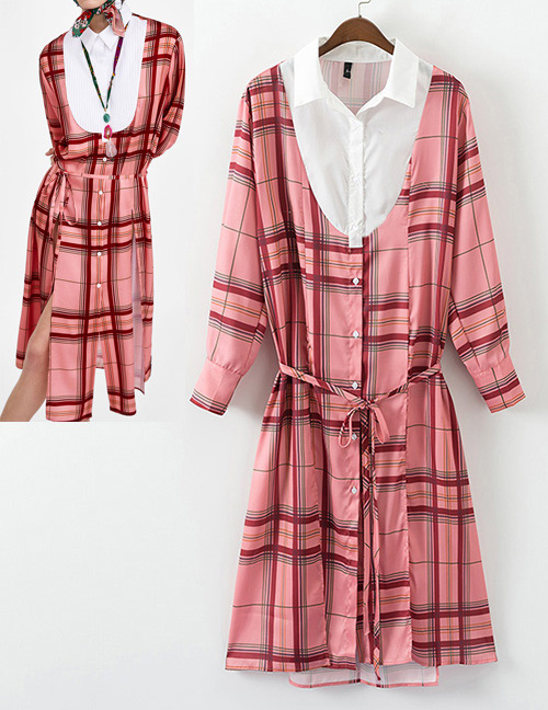 Fashion Pink Grid Pattern Decorated Long Sleeves Dress