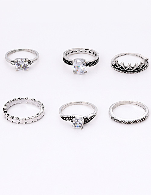 Fashion Silver Color Diamond&crown Decorated Ring (6pcs)
