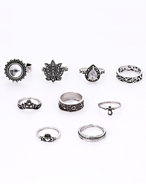 Fashion Silver Color Flower Shape Decorated Ring(9pcs)
