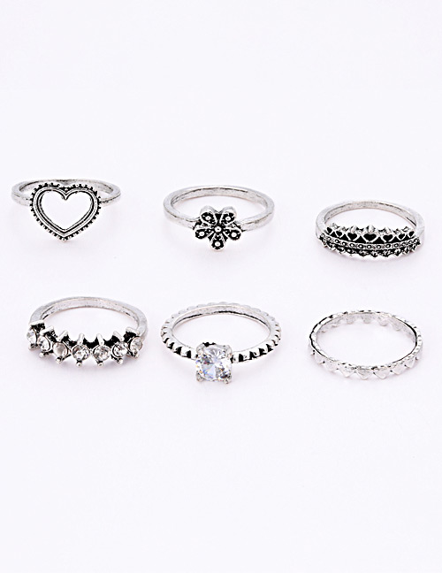 Fashion Silver Color Flower&diamonf Decorated Ring(6pcs)