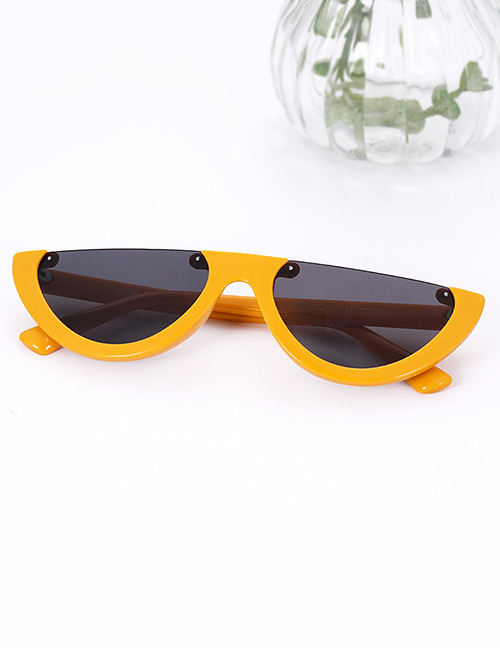 Fashion Yellow Half Framed Shape Design Sunglasses