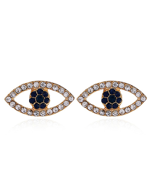 Fashion Gold Color Eye Shape Decorated Earrings