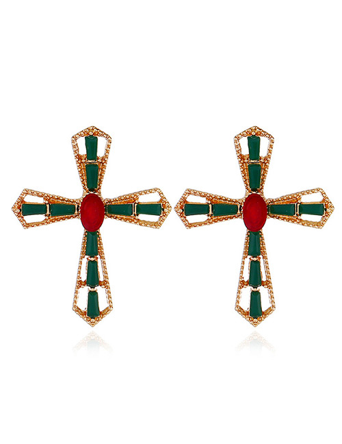 Fashion Green Cross Shape Decorated Earrings