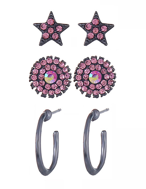 Fashion Pink Star Shape Decorated Earrings (6 Pcs )