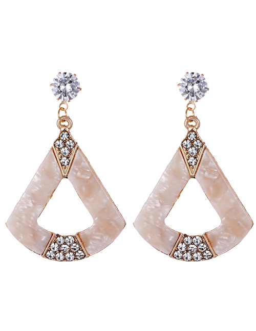 Fashion Beige Geometric Shape Decorated Earrings