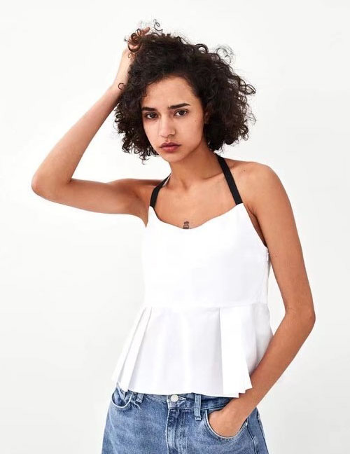 Fashion White Off-the-shoulder Design Blouse