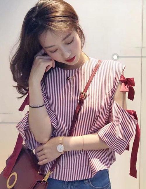 Fashion Pink Stripe Pattern Decorated Blouse