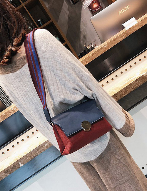 Fashion Blue+claret Red Color-matching Decorated Bag