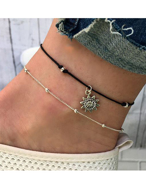 Fashion Silver Color Sun Shape Decorated Ankle Chain