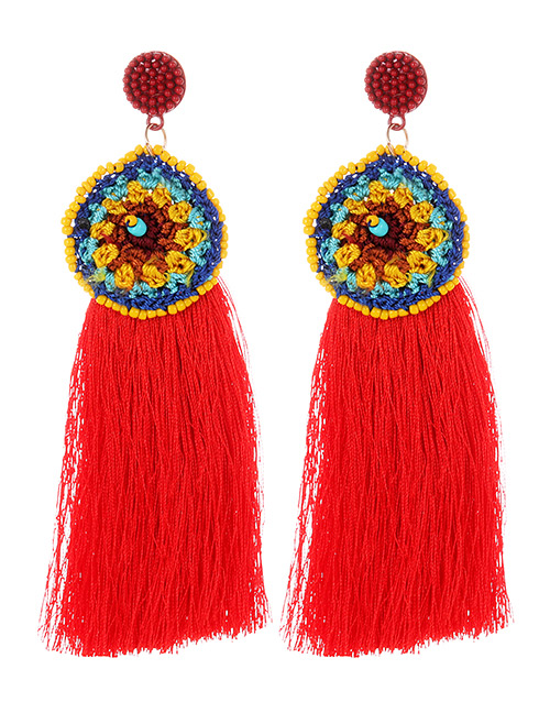 Fashion Red Round Shape Decorated Tassel Earrings