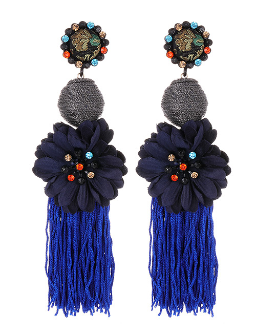 Fashion Navy Flower Shape Decorated Tassel Earrings