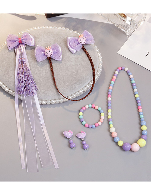 Lovely Purple Smiling Face Decorated Child Jewelry Sets