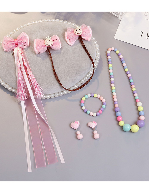 Lovely Pink Smiling Face Decorated Child Jewelry Sets
