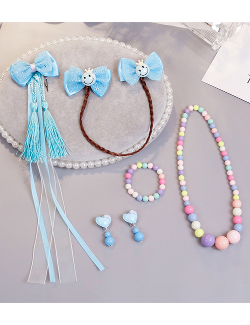 Lovely Blue Smiling Face Decorated Child Jewelry Sets