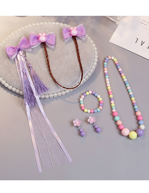 Lovely Purple Rabbits Decorated Child Jewelry Sets