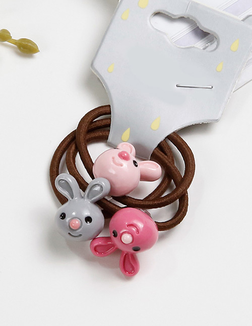 Lovely Plum Red+gray Rabbit Shape Decorated Baby's Hair Band(3pcs)