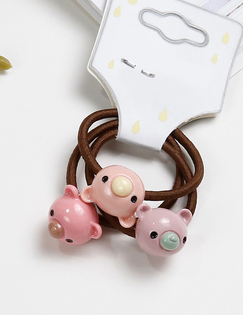 Lovely Pink Bears Shape Decorated Baby's Hair Band(3pcs)