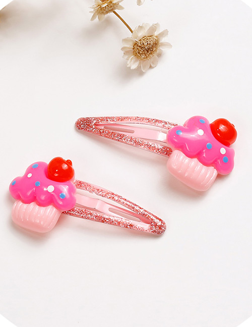 Lovely Pink+red Ice Cream Shape Desgin Baby Hair Clip (2pcs)