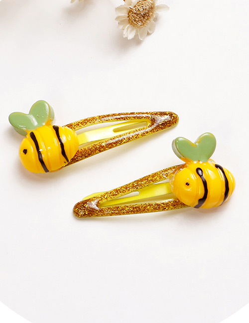 Lovely Yellow+green Bee Shape Design Baby Hair Clip (2pcs)