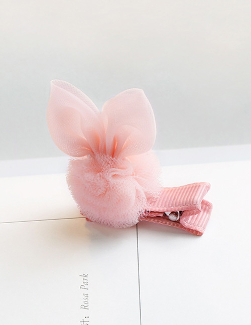 Lovely Pink Rabbit Ears Decorated Ball Shape Hair Clip