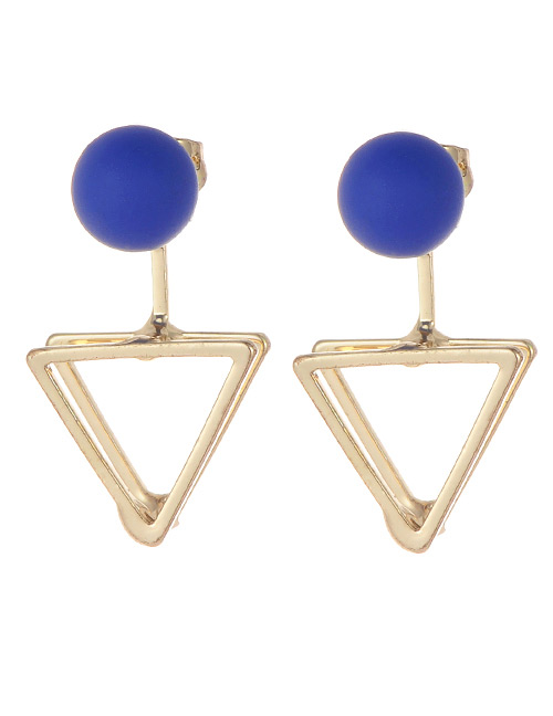 Fashion Sapphire Blue Triangle Shape Decorated Earrings