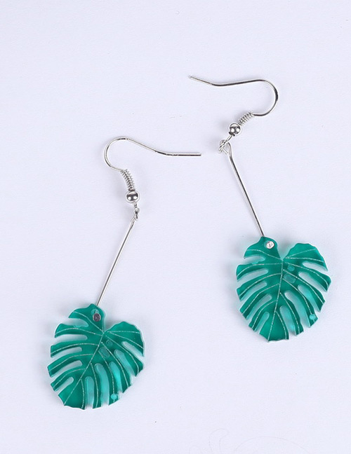 Fashion Green+silver Color Leaf Shape Decorated Earrings
