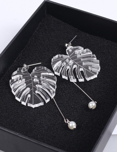 Fashion Silver Color+white Leaf Shape Decorated Earrings