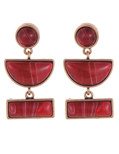 Fashion Claret Red Semicircle Shape Decorated Earrings