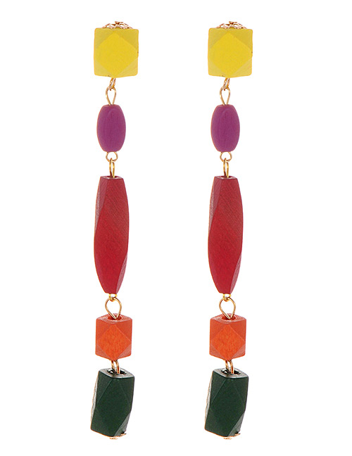 Fashion Red Color Matching Decorated Earrings