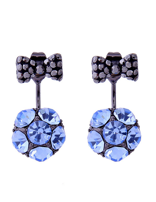 Fashion Blue Bowknot Shape Decorated Earrings