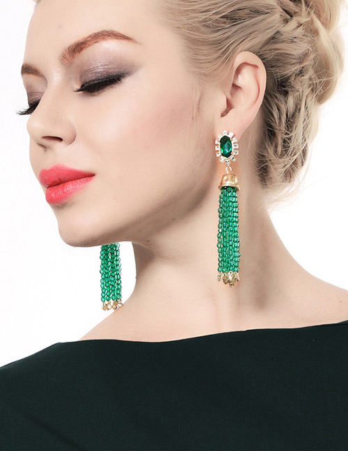 Fashion Green Tassel Decorated Earrings (1 Pc)
