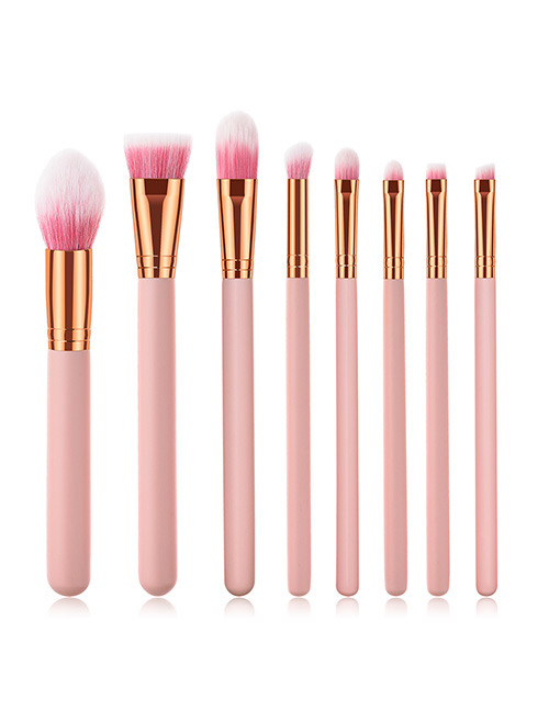 Fashion Pink Round Shape Decorated Makeup Brush (8 Pcs )