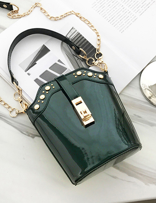 Fashion Green Lock Shape Decorated Shoulder Bag