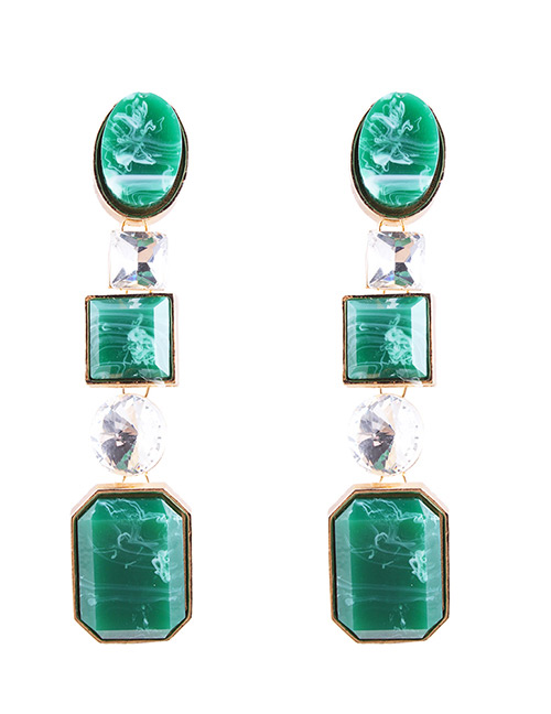 Fashion Green Geometry Shape Decorated Earrings