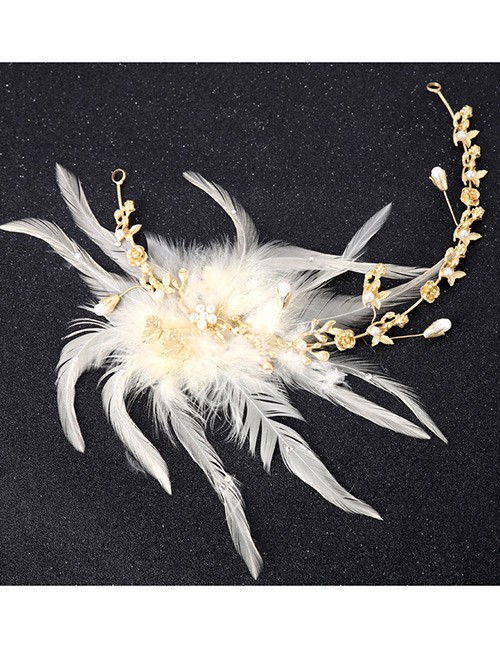 Fashion White+gold Color Flower Shape Decorated Hair Accessories