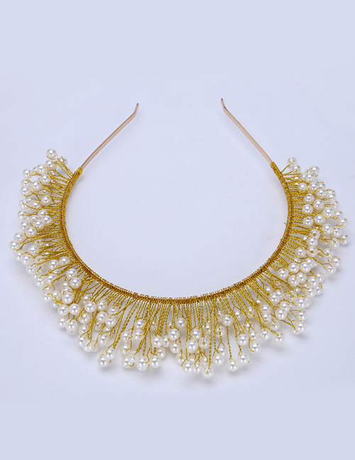 Fashion White+gold Color Pure Color Decorated Hair Accessories