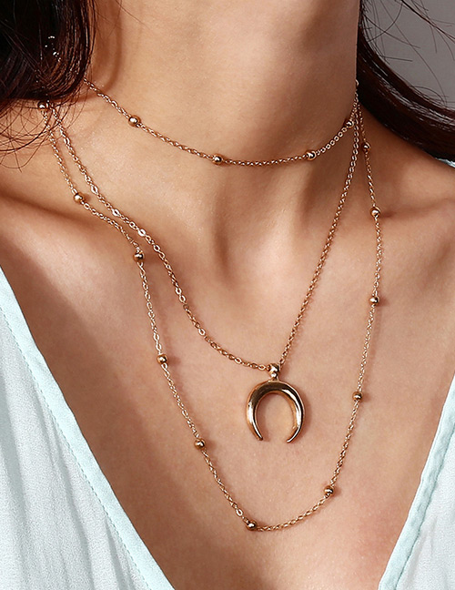 Fashion Gold Color Moon Shape Decorated Necklace