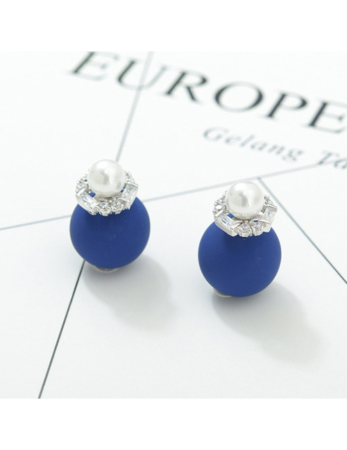 Fashion Sapphire Blue+white Pearl Decorated Earrings