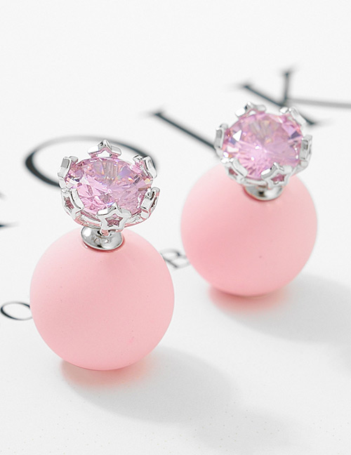 Fashion Pink+silver Color Diamond Decorated Earrings